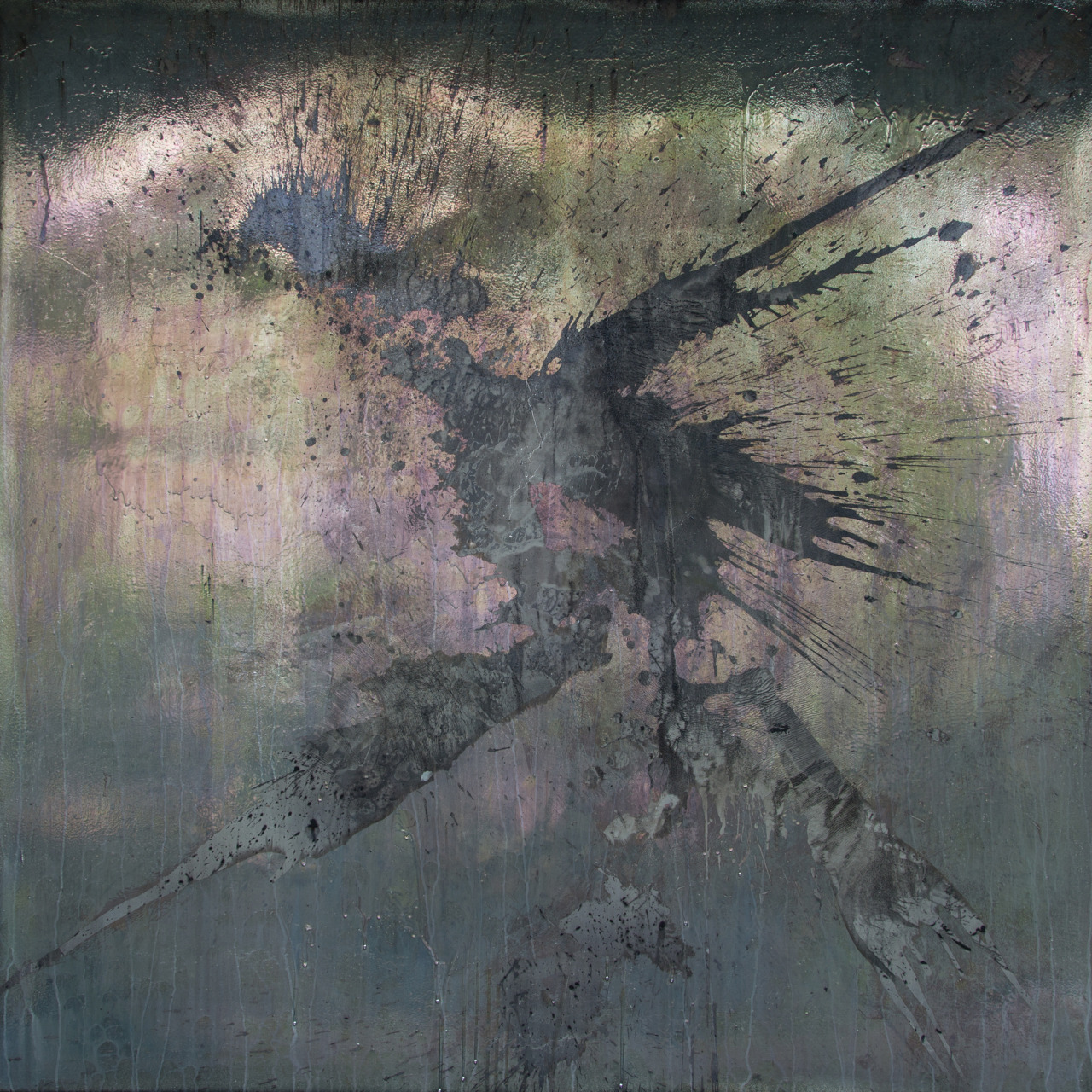 Grey Steel Gladiolus Acryl, Silver on Canvas 160 cm x 150 cm Martin Gremse 2015